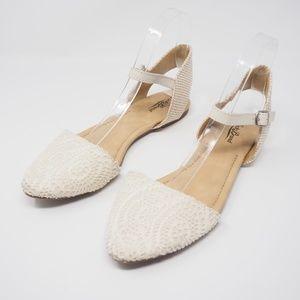 Lucky Brand Abbee D'Orsay Flats Cream Size 8
